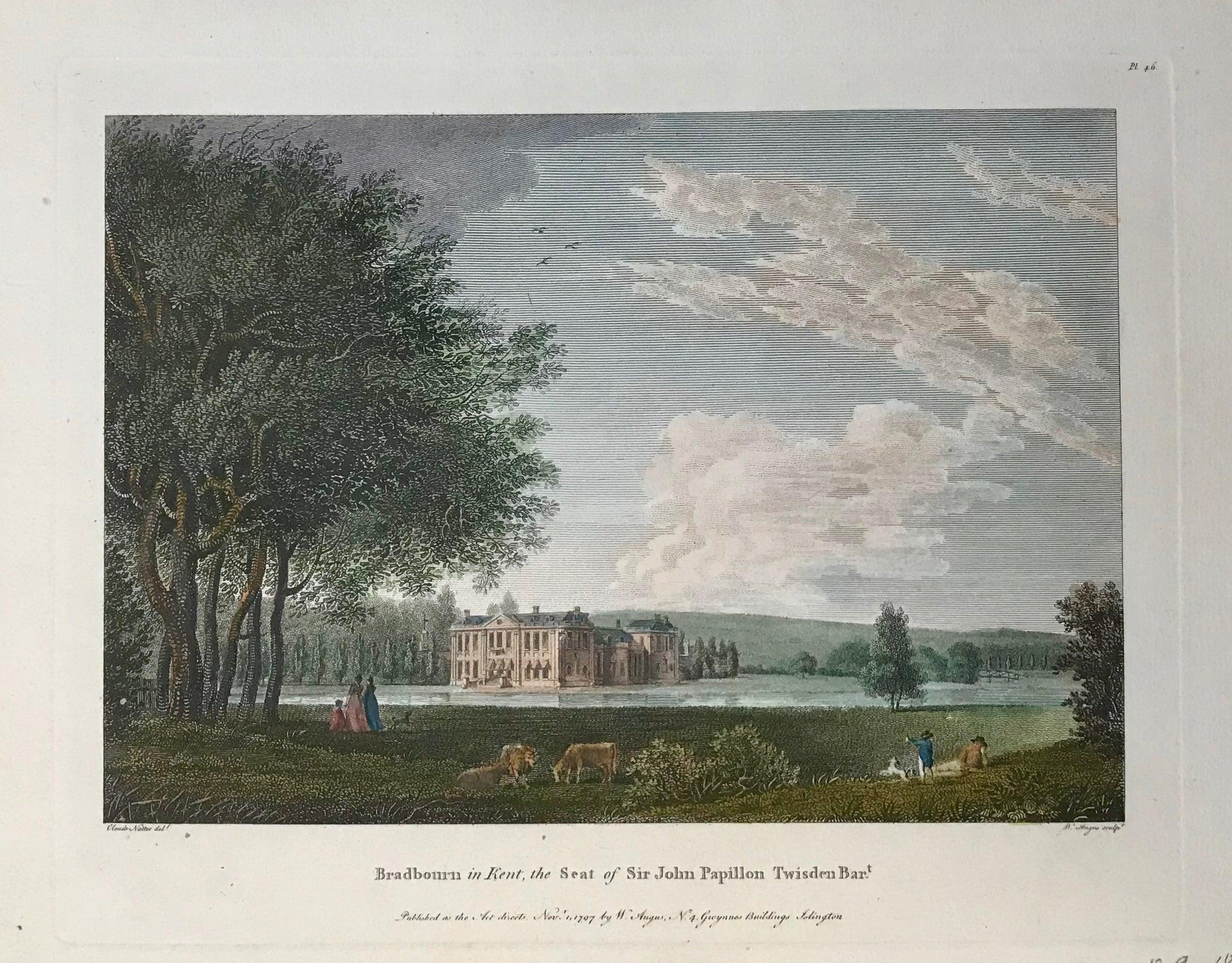 "Bradbourn in Kent, the Seat of Sir John Papillon Twisden Bart.  By W. angus after Claude Nattes, dated 1797  12.9 x 18.5 cm (5.1 x 7.3 "")  Castles, Landscapes and Estates of England and Scotland"