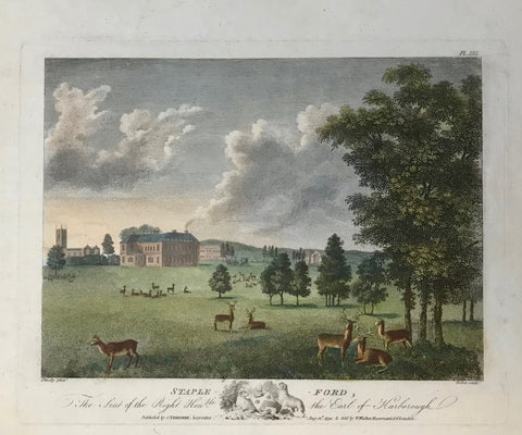 "Staple Ford  The Seat of the Right Honorable the Earl of Harborough.  By Walker after throsby, dated 1790. Repairs in upper left margin corner and lower left margin corner.  13.3 x 18.1 cm (5.2 x 7.1 "")  Castles, Landscapes and Estates of England and Scotland"