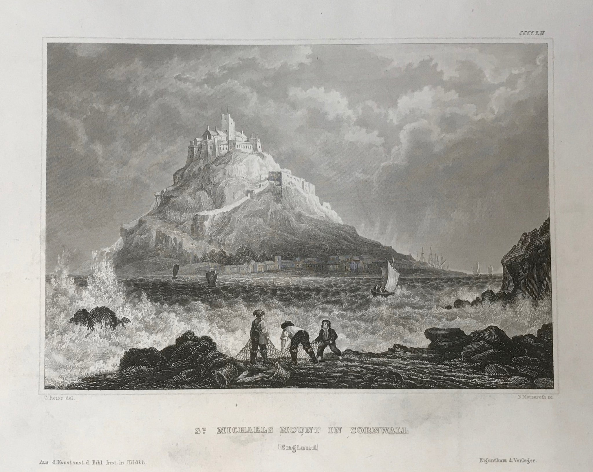 St. Michaell Mount in Cornwall (England)  Steel engraving by B. Metzroth after C. Reiss ca 1850. Wide margins.