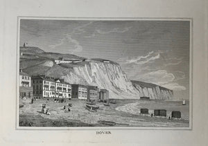 Dover  Steel engraving 1837. Clean print with wide margins..