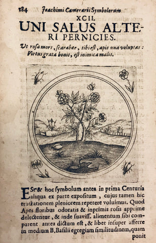 "Copper engraving from "" Joachimi Camerarii Symbolorum et emblematum centuriae quatuor, quarum prima stirpium secunda animlaium quadrupedium, tertia volatilium et insectium, ....."" Published between 1590-1596. Later, these four books were published a single volume, ""Symbolorum et Emblematum Centuriae Quatuor "" that was published in 1668, This print is from 1668."