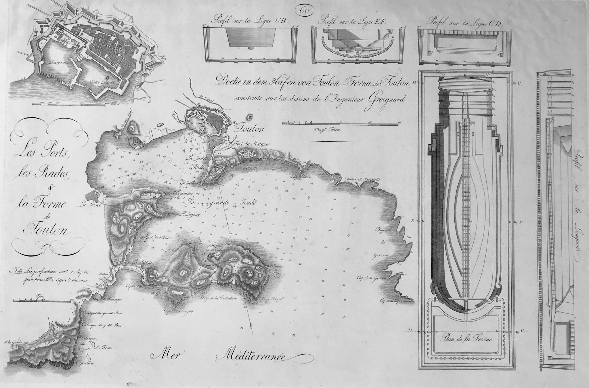 "Toulon, FRANCE  ""Les Ports, les Rades, & la Forme de Toulon""  Detailed plan of harbor and anchoring grounds of Toulon in France  Copperplate etching after the drawing by Antoine Groignard (1727-1798)  Published in: ""Allgemeine und aufgeschriebene begründete theoretisch-praktische Wasserbaukunst"""