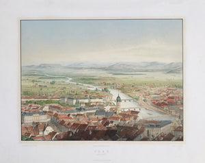 """Graz"".  Lithograph by C. Reichert after his own drawing. Very fine not too recent hand coloring Printed by T. Schneider and published by Jamnik & Willmer. Graz, Ca. 1860.  Partial view (south side) of the city of Graz, capital of Steiermark, Austria."