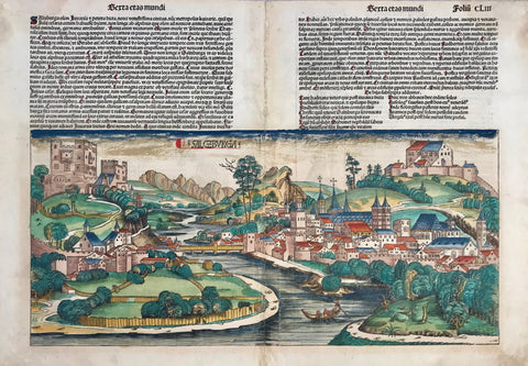 """Salczburga"" (Salzburg first view inprint)  General view of the famous Austrian city.  Woodcut. Original hand coloring. Text in Latin with some letters emphasized in red ink.  On the left reverse side are images of Popes and on the right side are images of Gallus abbas, Joanes gerudines eps, Eligius episcopus and Rupertus episcopus."