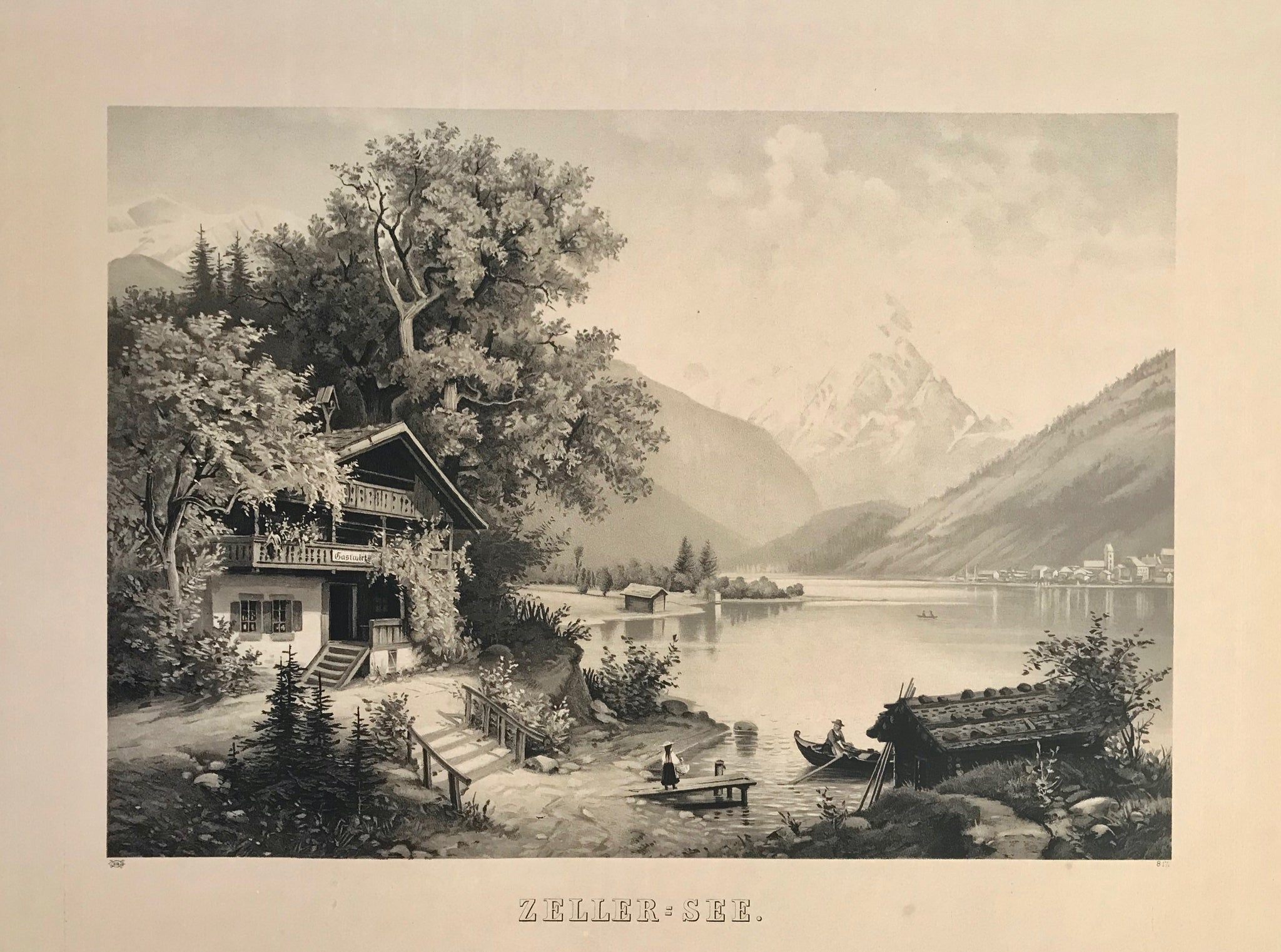 """Zeller-See""  Photogravure from a lithograph by an anonymous artist  Vienna, ca. 1880  Idyllic view of Zeller Lake towards the old part of Zell am See, before any big construction changed the landscape. (At that time Zell am See had under 2000 inhabitants verso almost 10000 in 2006). In the background we see snow-covered mountain Grossglockner."