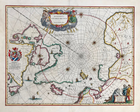 """Regiones sub Polo Artico"". Copper etching by Wilhelm Janszoon Bleau. From the atlas edited by Willem Johann Bleau. Amsterdam, ca 1645. Hand coloring.  The North Pole is the center of this map which shows the coastlines of the countries in the Artic Circle.The decorative title cartouche is in the upper part of the map with cherubs and personifications of the wind and winter."