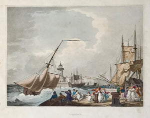 """Ramsgate""  Fine aquatint by William Pickett after the artist Philippe Jacques de Loutherbourg.  Published ca 1824. Exquiste, original hand coloring.  From the book "" The Romantic and Picturesque Scenery of England and Wales""."