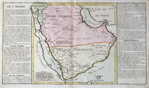 "Copper engraving map of Arabia by Jean Baptise Louis Clouet. Published 1787 in Paris. Published in ""Geographie modern avec une introduction""  On both side of the map is detailed information about the many ports and geography of Arabia."