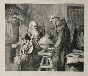 """Galileo Demonstrando sus Teorias Astronomicas""  Wood engraving made after the painting of the Mexican artist Felix Parra."