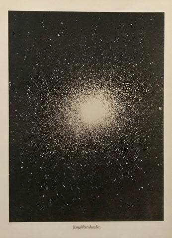 """Kugelsternhaufen"" (Ball star cluster)  Interesting illustration of a ball star cluster ca 1900.  20 x 15 cm ( 7.8 x 5.9 "")"