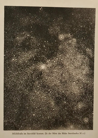 """Milchstrasse im Sternbild Scutum (In der Mitte des Bildes Sternhaufen M11)  Interesting illustration of the Milky Way ca 1900."
