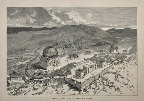 """L'Observatoire de Nice"" (France)  Wood engraving after Lepere, 1891. Reverse side is printed. A few minor creases."