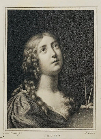 Urania  Stipple engraving by F. John after a painting by Carlo Dolce. The original is in the collection of M. Grittner. Ca. 1820.