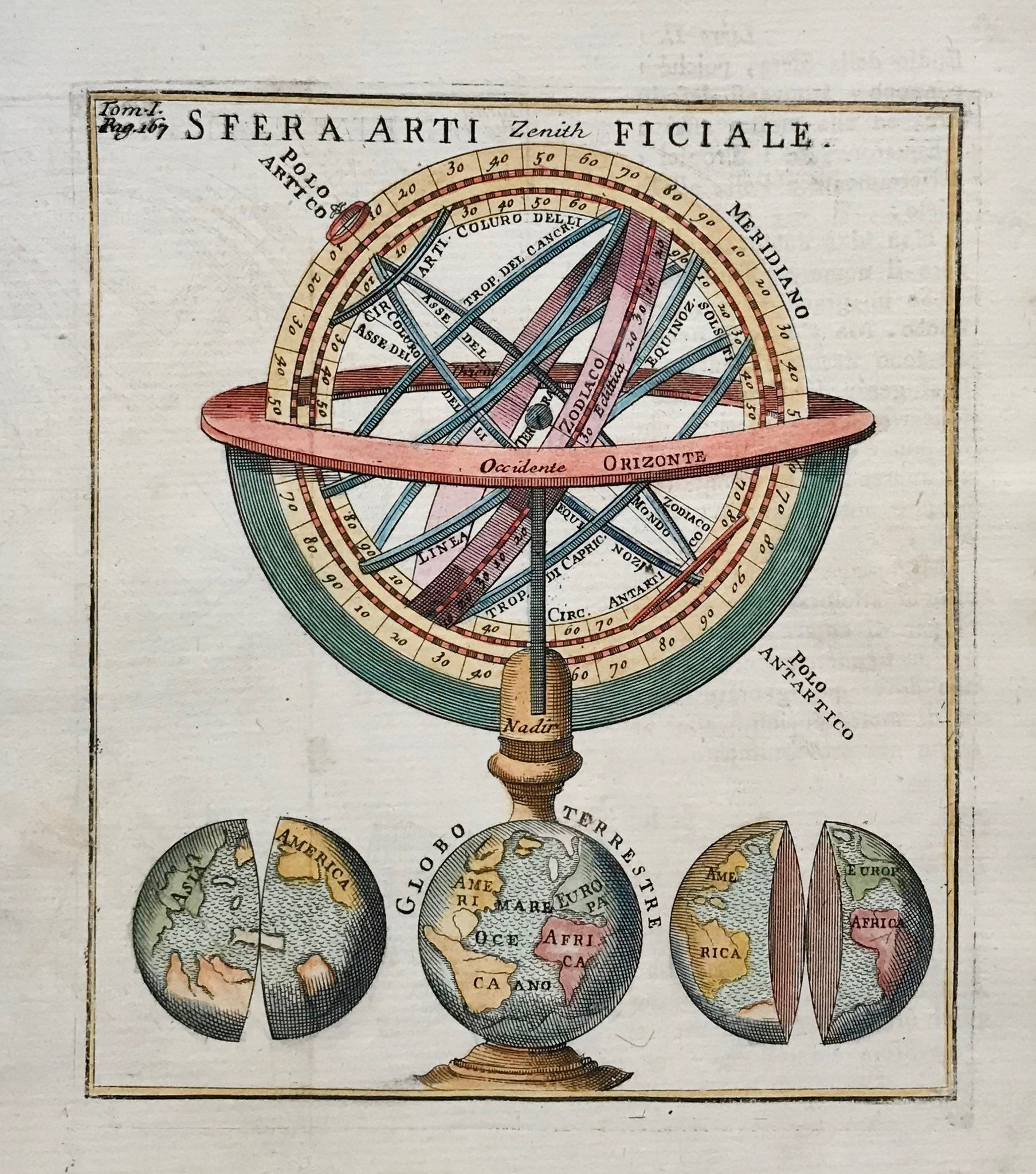 """Sfera artifiale""  Type of print: Copperplate etching  Color: Hand colored  Author / Engraver: Anonymous  Origin: Italian"
