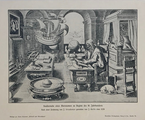 """Studierstube eines Astronomen zu Beginn des 16 Jahrhunderts""  Wood engraving made after a copper engraving by Stradanus. Published 1905."