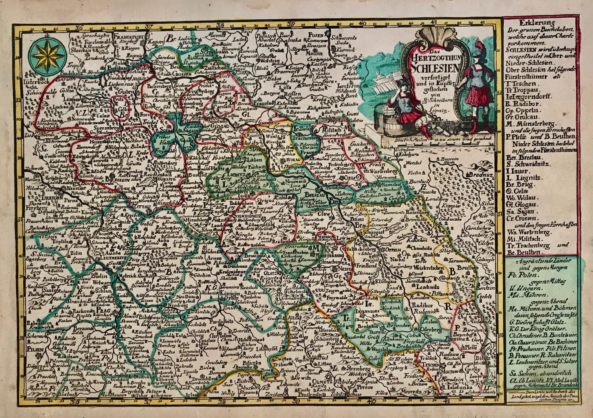 """Das Herzogthum Schlesien......"". Copper etching by Johann Christian Schreibern(1676-1746). His atlas was published after his death ca. 1750 in Leipzig. Original hand coloring.  This map features the region of Silesia and the surrounding area. It reaches as far west to include Dresden and Pilsen on the left side and Pless and Bilitz in the southeast. In the far south is Iglau. On the right side of the map is an explanation of the various areas."