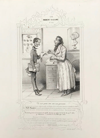 """Tu vas porter cette note aux journaux...""  In the upper left is a chart for eye medicine.  Lithograph. Signature: no Date: 1839/40  lower left: Chez Aubert gal. véro-dodat  lower right: IImp. d'Aubert et C.ie  Page size: ca. 27 x 19 cm (ca. 10.6 x. 7.5"")  Condition: Very light general age toning.  DAUMIER Musée pour rire - Plate 60"