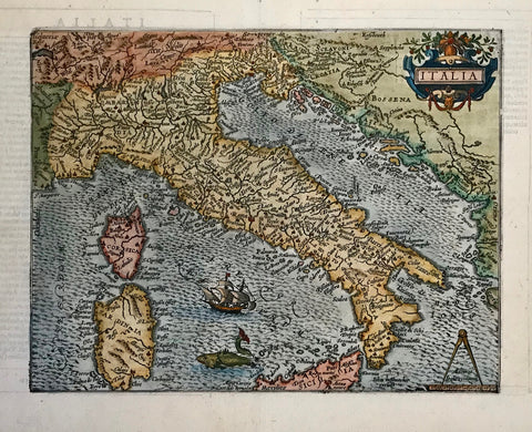 """Italia"". Copper etching by Johann Bussemacher, ca. 1590. Modern hand coloring.  At first glance this map is very decorative with a sailing ship and a large imaginative fish in the wavy Tyrrhenian Sea, a pleasant title cartouche and a compass in the lower right corner. Studying the map more closely, one appreciates the great detail in locations of cities and rivers that were known in the 16th Century. Bussemacher's name is at the bottom of the map.Verso: Text in Latin."