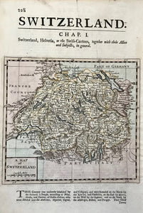 """A Map of Switzerland"". Copper etching by Herman Moll ( 1678-1732). Published ca 1725. Modern hand coloring.  This map shows Swizerland with a bit of the northern Italian lake country as well as part of western Austria. Map image is on a complete page that has historical information about Switzerland below map image and continued on backside."