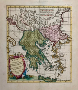 """La Grece Et Les Pays Plus Septtrionaux Jusqu'au Danube Pour L´Histoire Ancienne de Mr. Rollin"". Copper etching by Jean Baptiste Bourguignon D'Anville ( 1697-1782), published 1740. Modern hand coloring.  An attractive map of Greece with its many islands. Notice part of the ""heel"" of Italy on the left side. In the lower right is Turkey with the ancient names of the western coast. In the north the Danube River. In the upper right is part of the Black Sea."