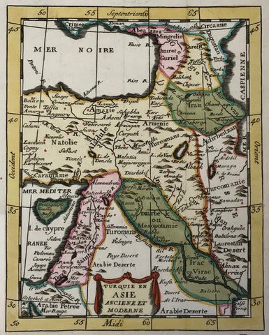 """Turquie en Asie Anciene et Moderne"". Copper etching ca 1720. Modern hand coloring.  This map concentrates on eastern Turkey and the surrounding countries. In the upper left is the southern tip of the Crimea in the Black Sea. In the upper right is part of the Caspian Sea. In the lower left is the northern tip of the Red Sea and in the lower right is the northern tip of the Persian Gulf. To the left of the Holy Land is Cyprus."