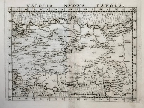 """Natolia Nvova Tavola""  Copper etching from: ""Geographia"" by Claudio Ptolemy. Originally edited and published by Willibald Pirckheimer. This edition, which comprises all 64 maps of the ""B"" edition, including the ""New World"", was published by Josephus Meletius 1562 in Venice.  All of Turkey, except for a bit of the far western part is shown on this early map. In the northwest is Constantinople. The map reaches along the Black Sea in the north as far as Trapezunt."