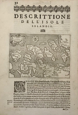 """Descrittione Dell'Isole Selandie"".Copper etching from ""L'Isole piu Famose del Mondo"" (The most famous islands of the world by Thomas Porcacchi (1530 - 1585) and engraved by Girolamo Porro. The first edition of this work was published in Venice in 1572. This is from the second edition, 1620.  A more detailed map showing the Zeeland Islands with an extra text page describing location and history of the islands. A third page is a Xerox copy. The map is northwest oriented."
