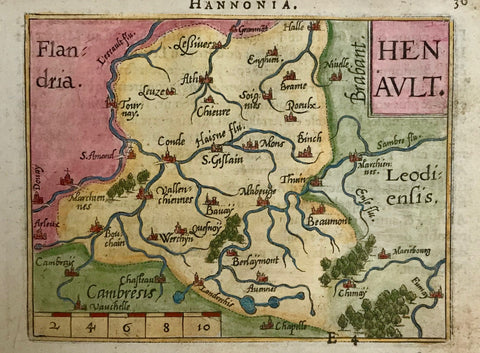 """Henault"" Copper engraving by Abraham Ortelius, 1600. Hand coloring. Verso: text in French plus some fine original handwriting.  An attractive little map of the region of Conde, Ath, Halle, Cambrai and Mons. In the upper left is the region of Flanders."