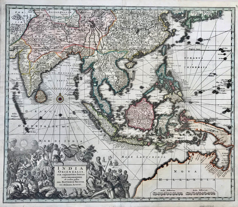 """India Orientalis cum Adjacentibus Insulis Nova Delineatione ob ocolos posita""  Copper engraving map by Matthaeus Seutter. Published in Augsburg 1735.  Map has fine original hand coloring.  Shows Myanmar, India, Thailand. Bangladesh, Cambodia, Philippines, Indonesia and Australia."