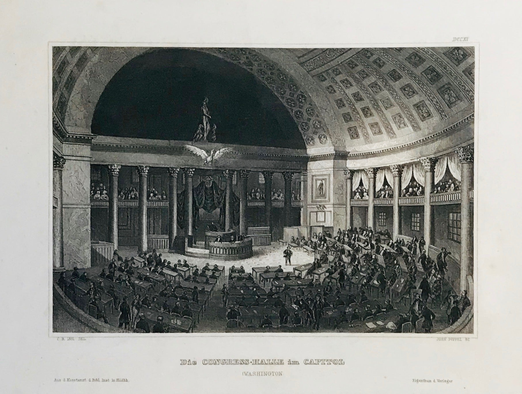 """Die Congress-Halle im Capitol"" (Washington)  Steel engraving from Bibliograph. Institut in Hildburghausen, ca 1850. A few minor spots in margin."