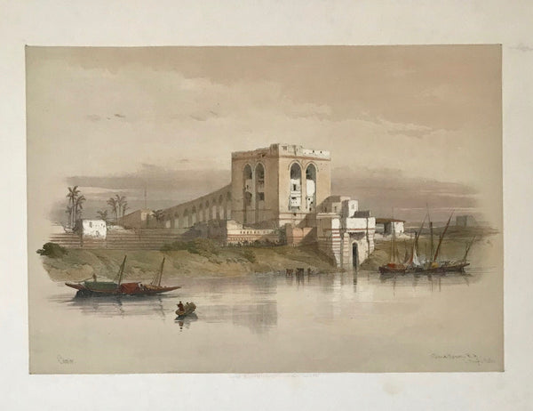 """Cairo: The aqueduct of the Nile from the Island of Rhoda""  This image is on a complete page with text below the image. In the upper right margin are two repaired tears. Small repaired tear on lower margin edge.  Image: 24 x 34.8 cm (9.4 x 13.7"") Page size: 60 x 41.5 cm ( 23.6 x 16.3 "")  Original Antique Lithographs  by David Roberts"