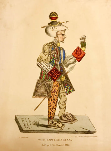 """The Antiquarian""  Lithograph by George Spratt with original hand coloring.  This print was one in a series of satirical depictions of professions and trades.  It was published in ""Purcell's Lithographic Drawing Book""  By Charles Tilt. London, 1830"