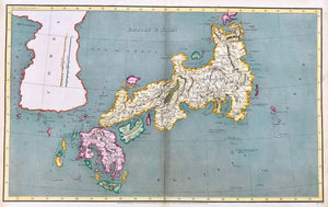 """Empire of Japan"". Copper etching by Lowry drawn under the direction of M. Arrowsmith and published June 1, 1807 in London. Modern hand coloring.  Map shows Japan with its many islands and an outline of Korea. The vertical lines in Korea are scales for British miles and Japanese Leagues."