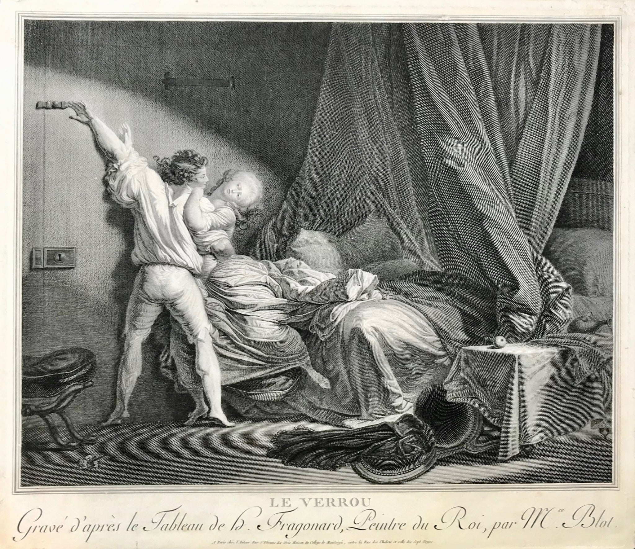 Le Verrou (the bolt)  Copper etching by Maurice Blot (1753 - 1818) after the painting by Jean-Honoré Fragonard (1732 - 1806). Paris, 1784  A young man prevents the escape of his mistress by pushing the door bolt shut.