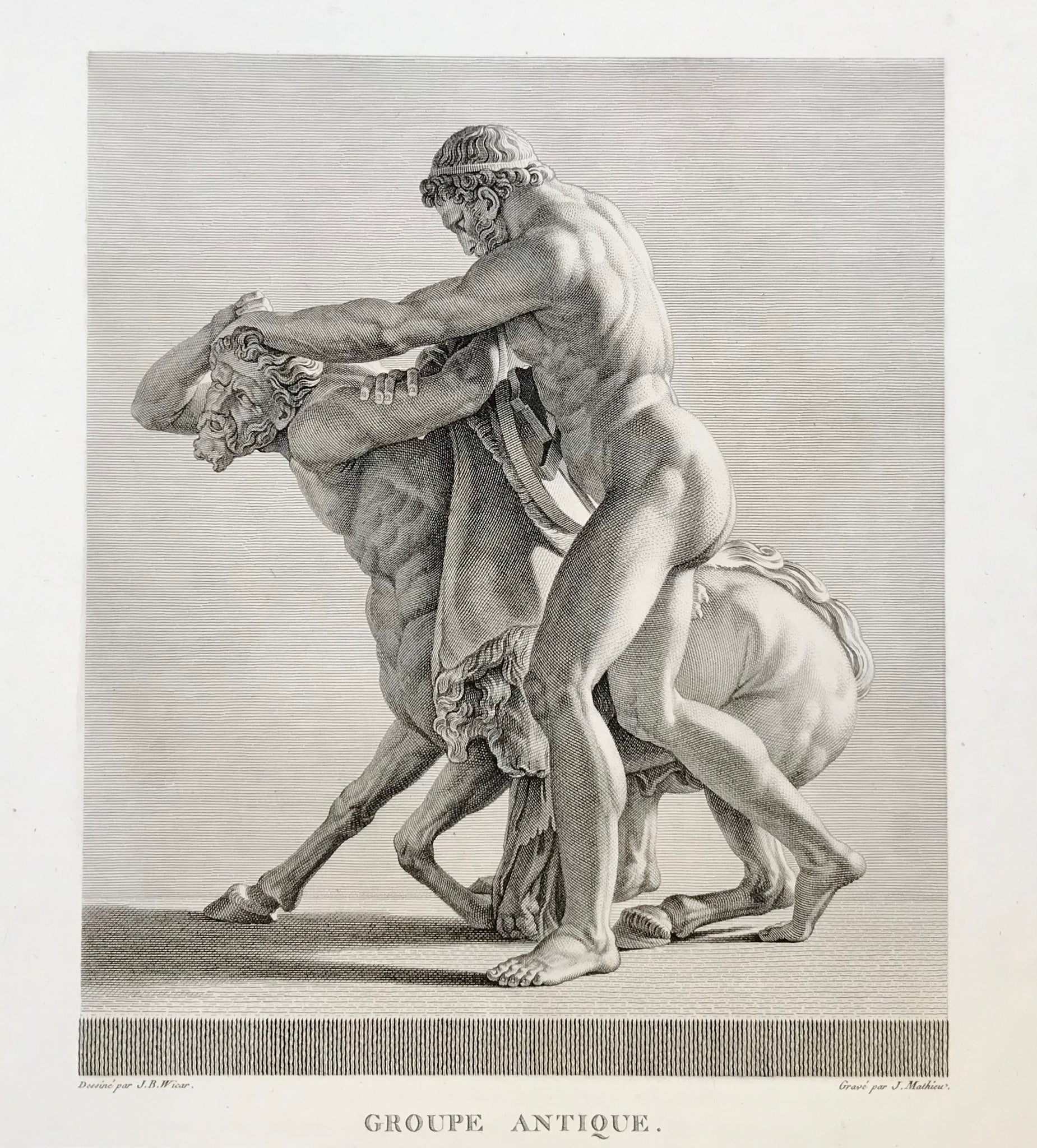 """Groupe Antique"". Hercules (Herakles) kilos Nessus, the famous Centaur""  Copper etching by Jean Mathieu  After the drawing by Jean-Baptiste Wicar (1762-1834)  Published in ""Gallery of Florence""  Paris, 1789"