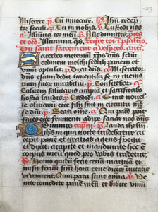 Individual pages from a daily missal (Roman rites)  Published ca 1450.  On parchment  Origin: France  Christian prayer, the Incipit (beginning) of the oration during mass on Easter Sunday  Illuminated large initials