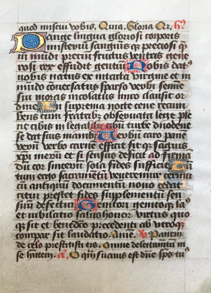 Illuminated Manusscript: Individual pages from a daily missal (Roman rites)  Published ca 1450.