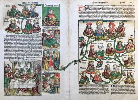 Left sheet upper left: John Baptist, his parents and grand parents  Left side bottom: Salome and guests celebrate the decapitation of John the Baptist  Left sheet right side from top: Portrait of St. Joseph - Anna gives birth to St. Mary -  Engagement of Mary and Joseph - Annunciation  Right sheet: Genealogy of Jesus Christ