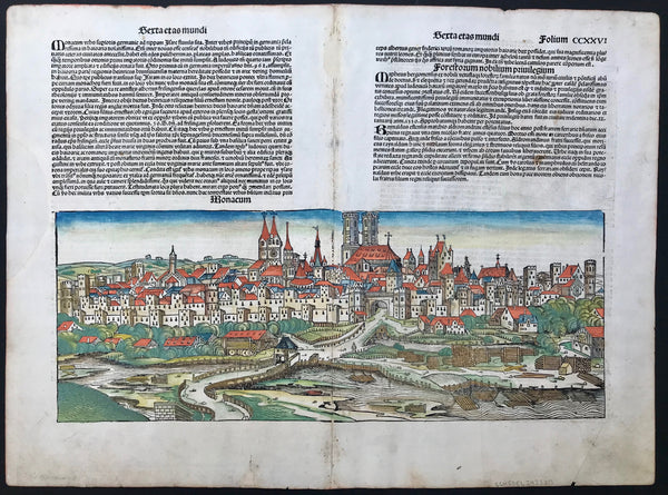 Munich, The Nuremberg Chronicle, Nuremberg 1493  In May of 1493 appeared in the Latin language one of the earliest voluminous books, fully illustrated with 1809 woodcuts printed from 645 woodblocks: The Nuremberg Chronicle.  The story of this book is a story of superlatives. Hartmann Schedel, a medical doctor in Nuremberg who owned the most important private collection of books in all of Europe was the author. His library made the writing of this book possible.
