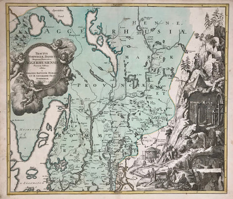 """Tractus Norwegiae Danicus Magnum Dioeceseos Aggerhusiensis Partem Siftens"". Copper etching by Johann Baptist Homann and Son, dated 1729. Original hand coloring.  Cristania (Oslo) is locacted directly south of the title cartouche. In the upper left is Sperillen Land. South of Cristania is Moss and Monnicke Island. In the upper right is part of the Glomma River. On the right side are very lively scenes of Norwegian mining and smelting. There are some historical technical aspects of early mining shown."