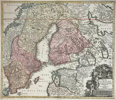 """Regni Sueciae in omnes suas Subjacentes Provincias accurate divisi Tabula Generalis."" Copper etching by Johann Baptist Homann, 1723. Original hand coloring.  This Scandinavian map shows Sweden with Finnland and part of Norway. The red line near the top is the Arctic Circle. In the lower right is Lithuania and Curland reaching as far south as Memel. Cherubs hold a coat of arms in the cartouche while a Viking looks on."