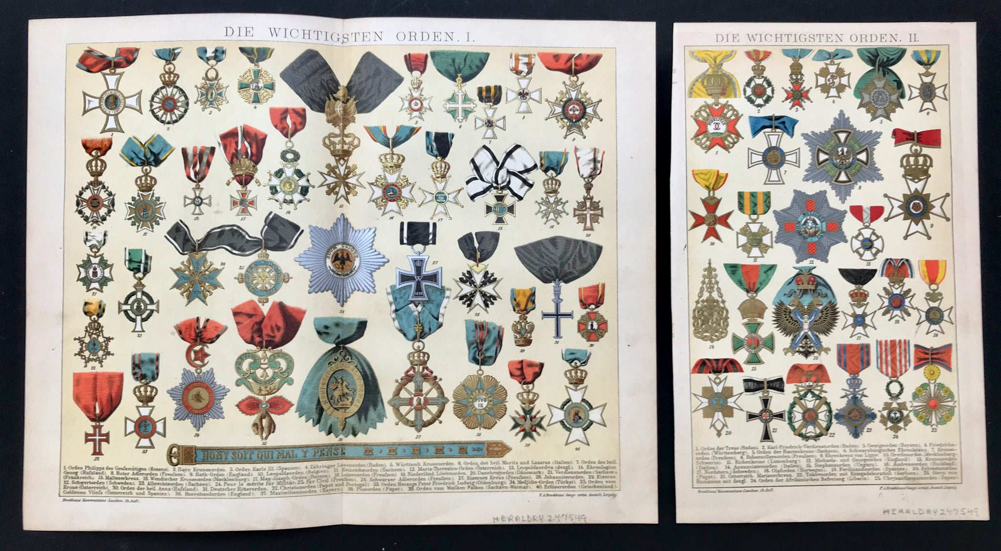 """Die Wichtigsten Orden I"" ( the most important medals, awards )  ******  Second Page:  ""Die Wichtigsten Ordern II"" ( the most importan medals, awards )  Two pages ( one double page and one single page ) showing some of the most important medals and awards given. Below the medals are the numbered names of each medal."