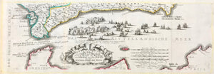 'Die Fahrt von Cadiz nach Malaga durch die Strasse oder Meer-Enge von Gibraltar aus dem Ocean in daß Mittellaendische Meer'.  Copper engraving by Gabriel Bodenehr ca 1705. Original outline coloring.