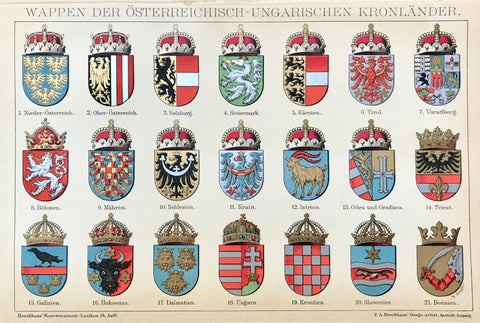 "Heraldry: ""Wappen Der Oesterreichisch - Ungarischen Kronlaender""  Coats - of - Arms of The Austrian Hungarian Empire. Published 1895.  Light age toning. Extra page of text about the Austrian-Hungarian Monarchy."