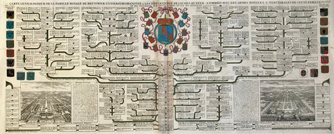 """Carte Genealogique de la Famille Royale de Brunswick-Lunebourg-Hanover & les différentes Branches qu'elle a formées avec les Armes Roiales & Electorales de cette Famille""  Chart (family tree) of the Royal families of Braunschweig-Lüneburg-Hannover  Chart has a most decorative arrangement of the main Coat of arms surrounded by the various related families' coats of arms.  On the left coats of arms in original hand coloring: Emperor, France, Sweden, Denmark, Poland, Prussia, Palatinat, Bavaria and Nassau  On"
