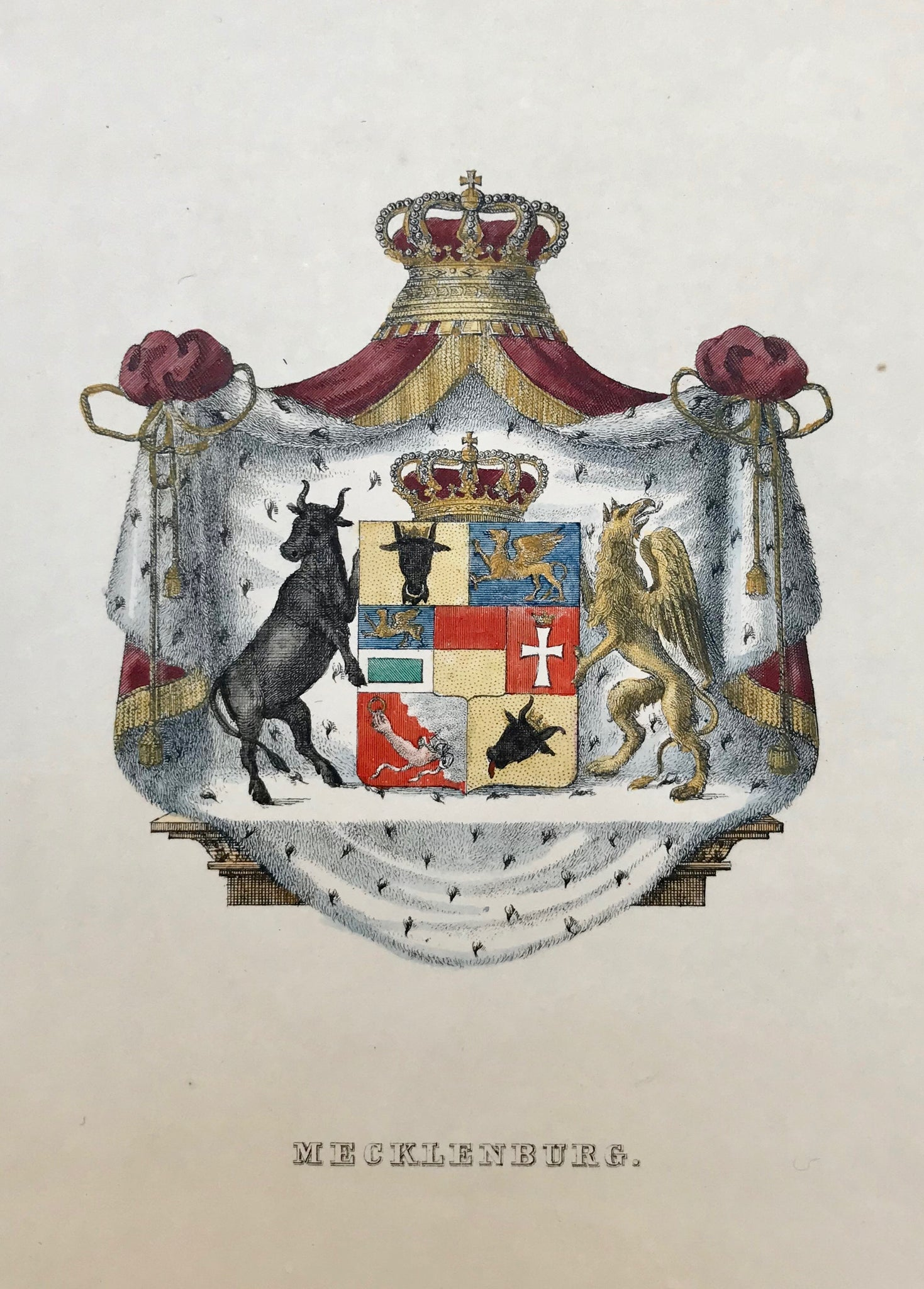 "Heraldry, ""Mecklenburg""  Lithograph in original hand coloring, ca 1850."