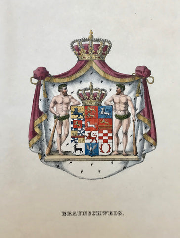 "Heraldry ""Braunschweig""  Lithograph in original hand coloring, ca 1850."
