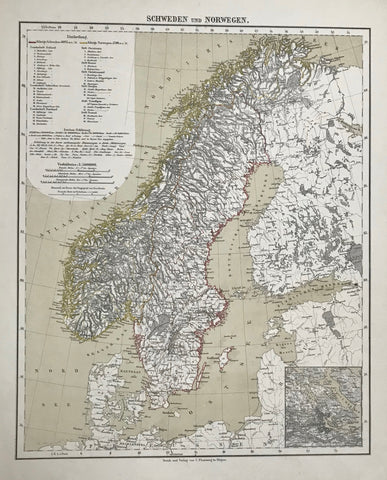 """Schweden und Norwegen""  Steel engraving with original hand outline coloring. Published by Carl Flemming in Glogau 1845."