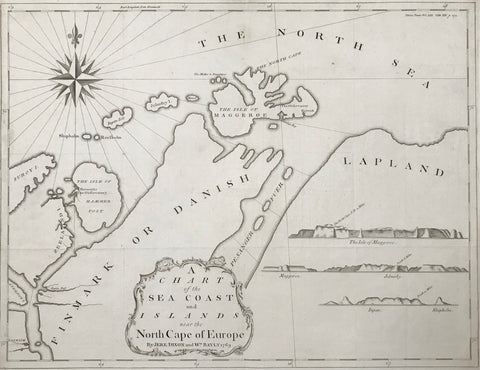 """A Chart of the Sea Coast and Islands near the North Cape of Europe""  Rare copper engraving by Jere Dixon and Wm. Bayly dated 1769.  Map shows the North Cape area of Norway. In the lower left are topographical diagrams of the islands Maggeroe, Jelmsby, Ingan and Shipholm.  Map was published in a book and has fold to fit original book size."