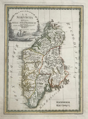 """La NorVegia Divisia Nelle Sue Provincie""  Copper etching by Gio. M. Cassini, dated 1796. Hand coloring.  Decorative and historical map of Norway. Notice the title cartouche portraying Norwegian fishing."